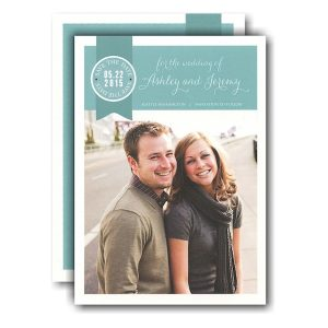 Ribbon Tag Seal Photo Save the Date Card