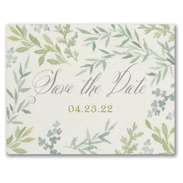 Romance & Greenery Save the Date Postcard
