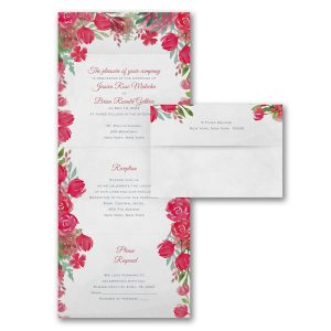 Romantic Blooms in Claret Seal 'n Send Wedding Invitation Icon