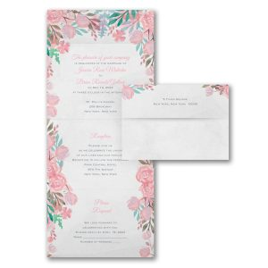 Romantic Blooms in Pink Seal 'n Send Wedding Invitation Icon