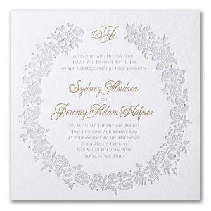 Rosy Wreath Letterpress Wedding Invitation Icon
