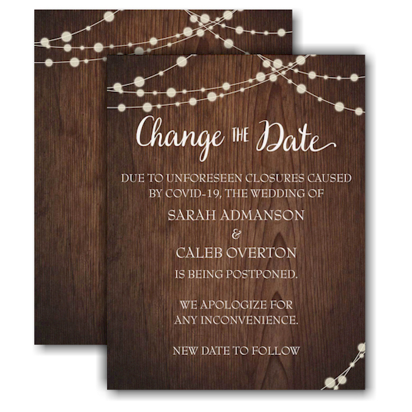 Rustic Evening Change the Date Card Icon