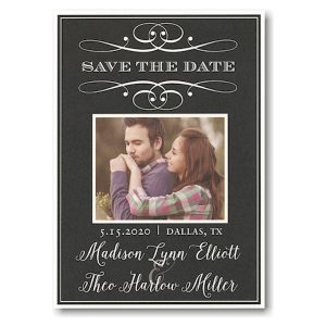 Scroll Classic Photo Save the Date Card Icon