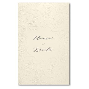 Sculpted Rose in White with Ecru Wrap Wedding Invitation Icon