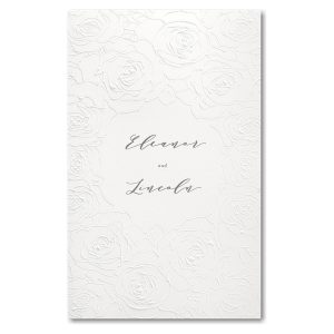 Sculpted Rose in White with White Wrap Wedding Invitation Icon