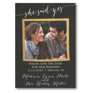 She Said Yes Gold Frame Photo Save the Date Card Icon