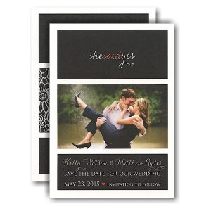 She Said Yes Photo Save the Date Card Icon