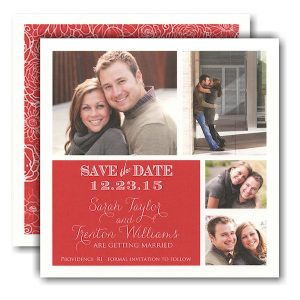 Simple Red Block Photo Save the Date Card Icon
