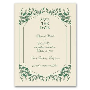 Sophisticated Greenery Save the Date Card Icon