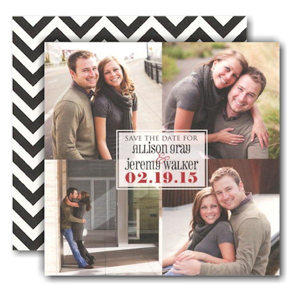 Squares Transparent Photo Save the Date Card