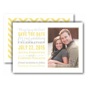Subway Grey & Yellow Photo Save the Date Card Icon