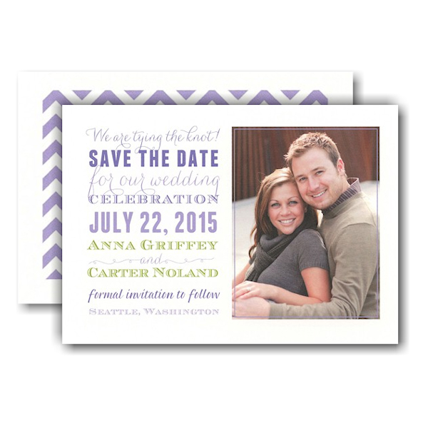 Subway Purple Lime Photo Save the Date Card