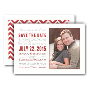 Subway Red and Grey Photo Save the Date Card Icon