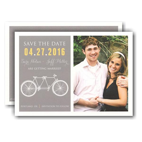 Tandem Bike Designer Photo Save the Date Card