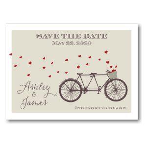 Tandem Bike Hearts Save the Date Postcard