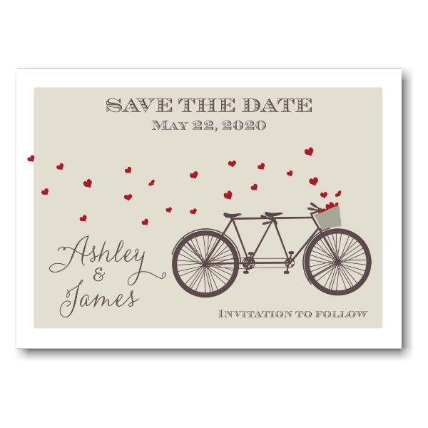 Tandem Bike Hearts Save the Date Postcard Icon
