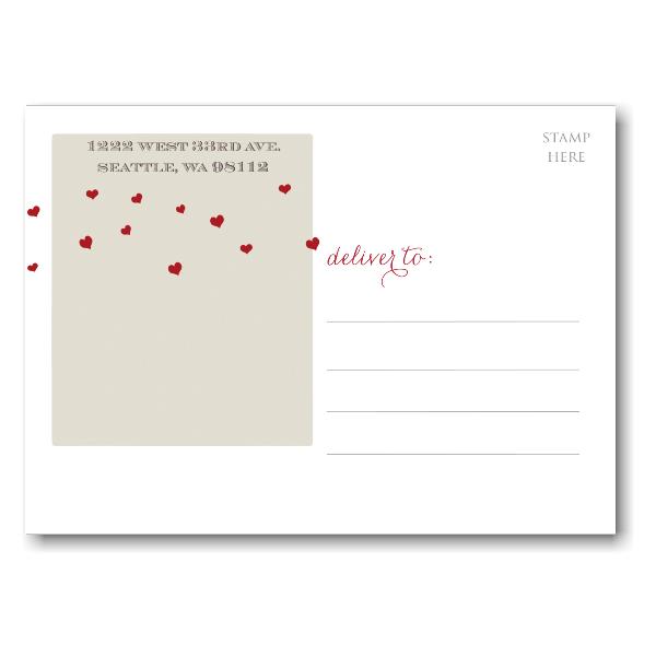 Tandem Bike Hearts Save the Date Postcard alt