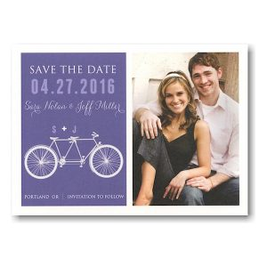 Tandem Bike Purple Save the Date Postcard Icon