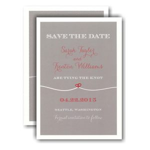 Tie the Knot Heart Red Save the Date Card Icon