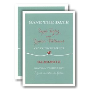Tie the Knot Tiffany Heart Red Save the Date Card Icon