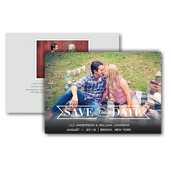 Timeless Text Save the Date Card Icon