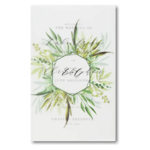 Translucent Botanicals in White Wedding Invitation Icon