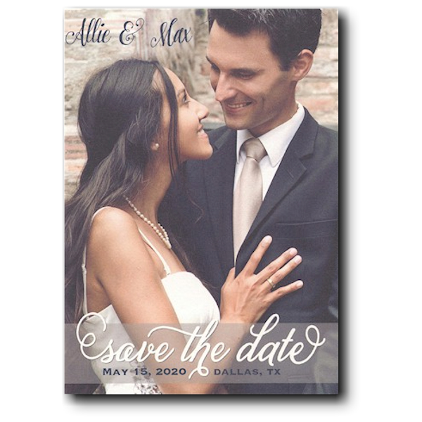 Transparent Band Overlay Photo Save the Date Card Icon