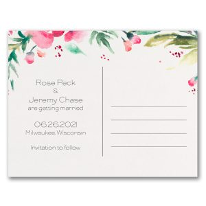 Vibrant Floral Save the Date Postcard alt