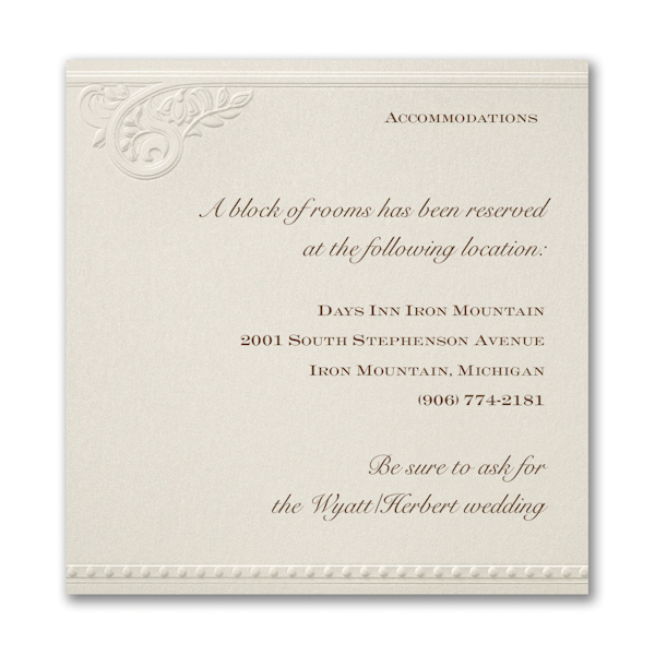 Vintage Pearls and Lace Accommodation Card