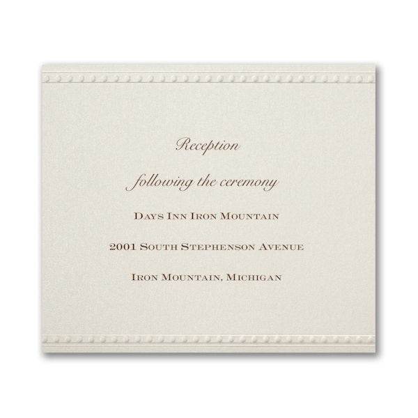 Vintage Pearls and Lace Pocket Reception Card