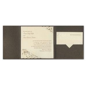 Vintage Pearls and Lace Pocket Wedding Invitation