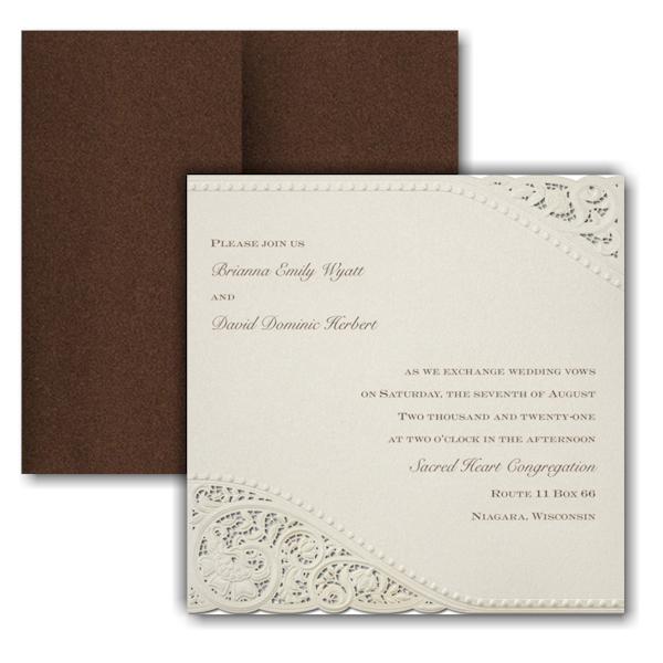 Vintage Pearls and Lace Pocket Wedding Invitation Icon