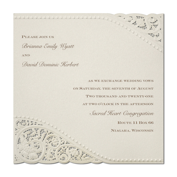 Vintage Pearls and Lace Wedding Invitation