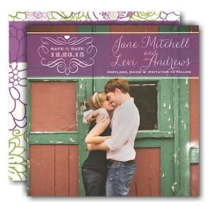 Violet Band Photo Save the Date Card Icon