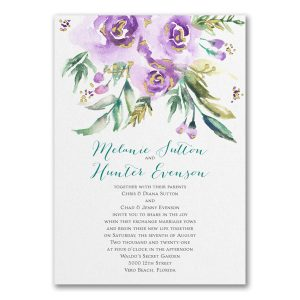 Watercolor Beauty in Purple Wedding Invitation Icon