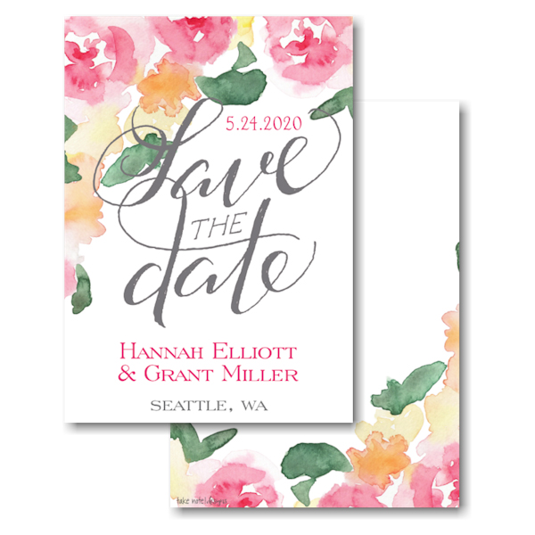 Watercolor Floral Grey Script Save the Date Card