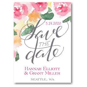 Watercolor Floral Grey Script Save the Date Card Icon