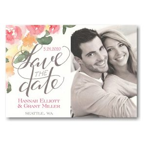 Watercolor Floral Script Photo Save the Date Card Icon