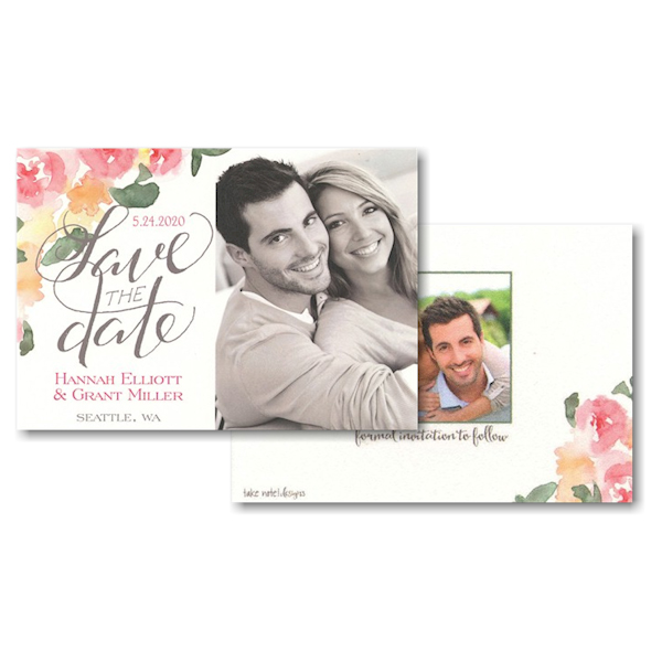 Watercolor Floral Script Photo Save the Date Card