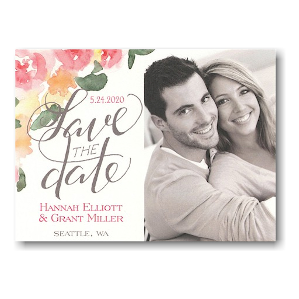 Watercolor Floral Script Save the Date Magnet Icon