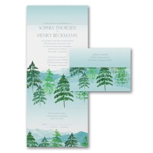 Watercolor Pines Seal 'n Send Wedding Invitation Icon