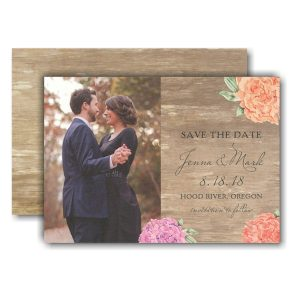Wood Floral Photo Save the Date Card
