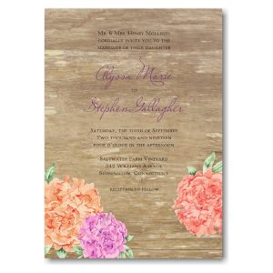 Wood Floral Wedding Invitation Icon