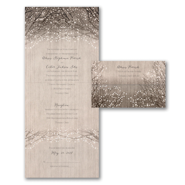 Wooden Shimmer Seal 'n Send Wedding Invitation