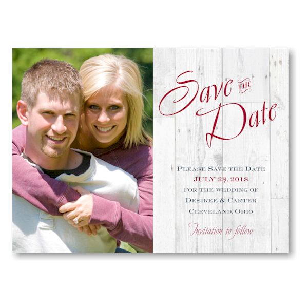 Woodgrain Typography Save the Date Card Icon