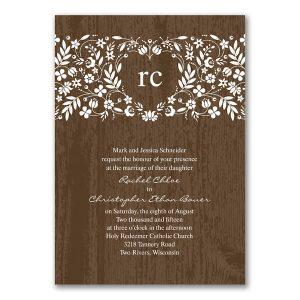 Woodland Flowers in Mocha Wedding Invitation Icon