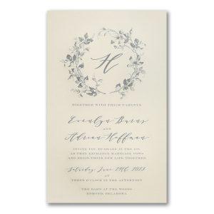 Wreath of Leaves in Ecru Engraved Wedding Invitation Icon