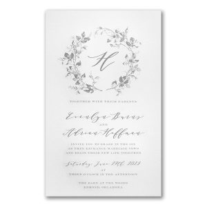Wreath of Leaves in White Engraved Wedding Invitation Icon