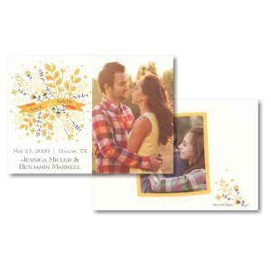 Yellow & Grey Bunch Banner Save the Date Card