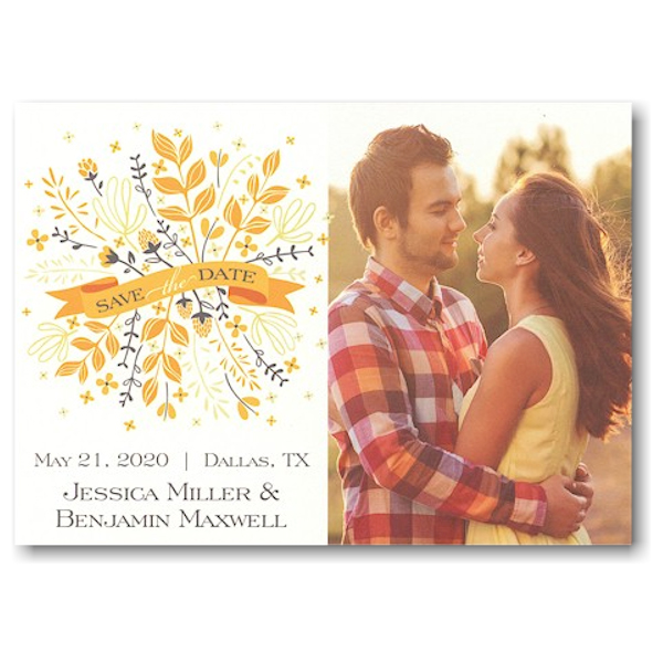 Yellow & Grey Bunch Banner Save the Date Card Icon